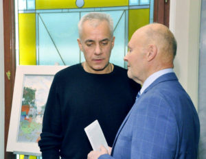 Kirill Gorodetskiy (links) im Gespräch mit Nikolai Suvorow (Kunstkritiker, Universität Sankt Petersburg)